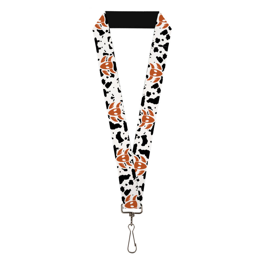 "Lanyard - 1.0"" - Toy Story Woody Bounding Cowboy Bull Icon Cow Print White Black Brown"