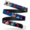 MARVEL AVENGERS MARVEL AVENGERS Logo Full Color Black Red White Seatbelt Belt - Marvel Avengers Captain America Action1 Blue Webbing