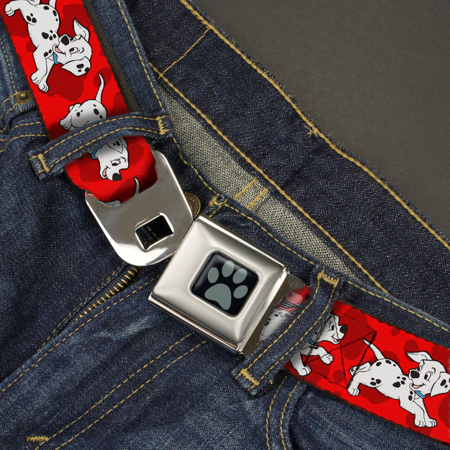 Dalmatian Paw Full Color Black Gray Seatbelt Belt - Dalmatians Running/Paws Reds/White/Black Webbing