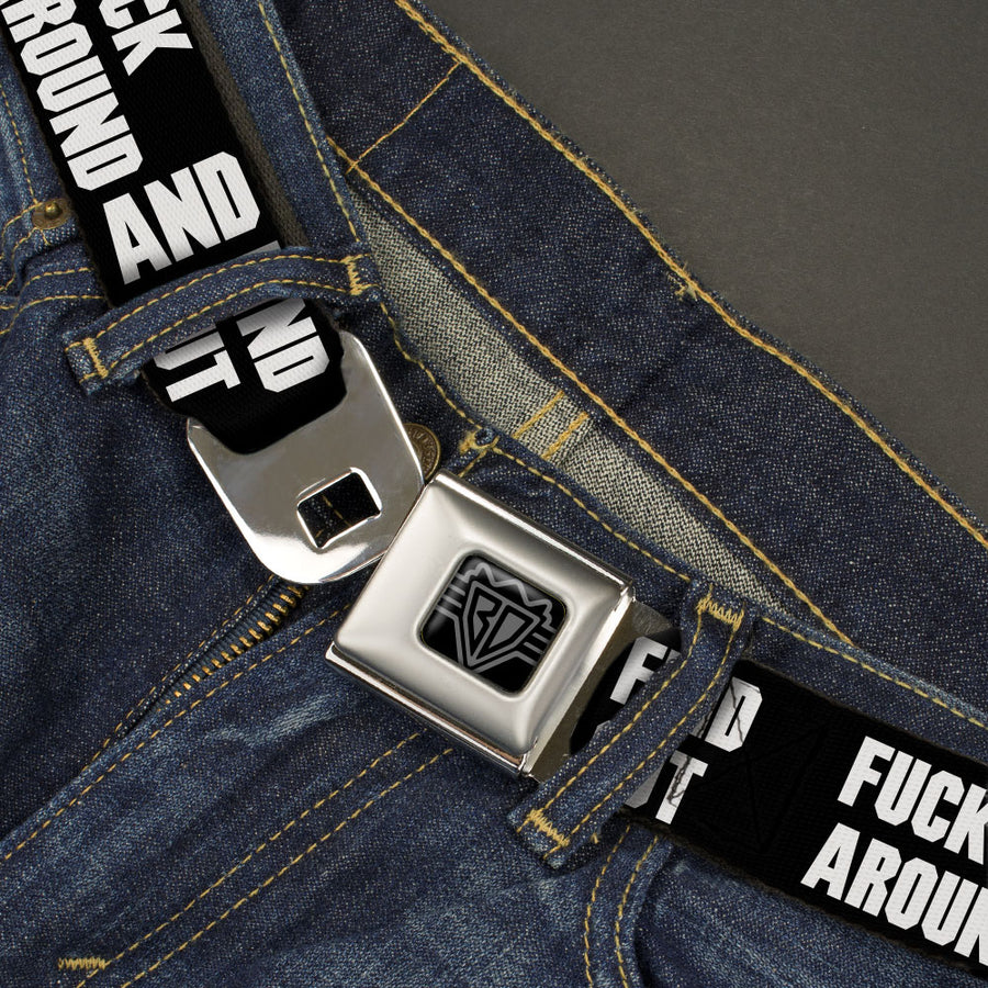 BD Wings Logo CLOSE-UP Black/Silver Seatbelt Belt - FAFO FUCK AROUND AND FIND OUT Bold Black/White Webbing