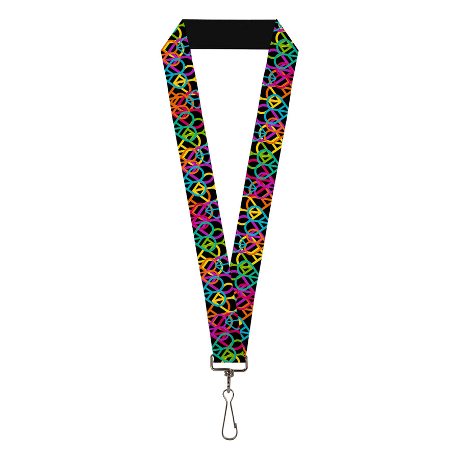 "Lanyard - 1.0"" - Peace Hearts Stacked Black Neon"