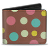 Bi-Fold Wallet - Dots Brown Multi Pastel