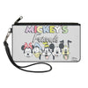 Canvas Zipper Wallet - LARGE - MICKEY'S FRIENDS The Fab Five Faces Gray