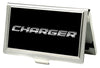Business Card Holder - SMALL - CHARGER Text FCG Black Silver-Fade