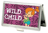 Business Card Holder - SMALL - Pebbles Winking Pose WILD CHILD FCG Pink Black White