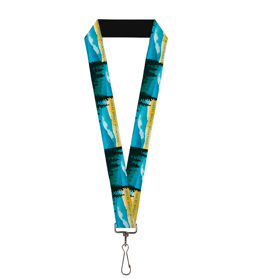 "Lanyard - 1.0"" - SEE AMERICA-NC GREAT SMOKY MTNS Landscape Yellows Blues White"