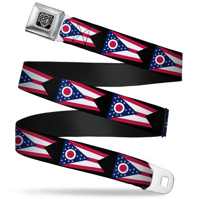BD Wings Logo CLOSE-UP Full Color Black Silver Seatbelt Belt - Ohio Flag Repeat Black Webbing