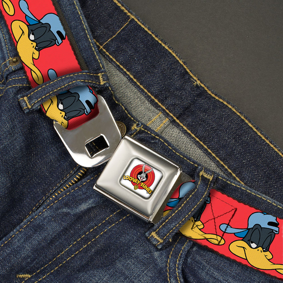 Looney Tunes Logo Full Color White Seatbelt Belt - Daffy Duck Hip Hop Expression2 Red Webbing