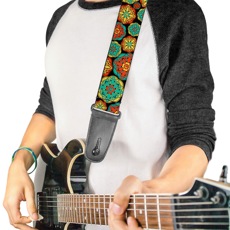 Guitar Strap - Boho Mandala Black Yellow Turquoise Orange