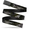 Black Buckle Web Belt - Harry Potter Wand Pose/OLLIVANDERS-MAKERS OF FINE WANDS Black/Browns/Golds Webbing