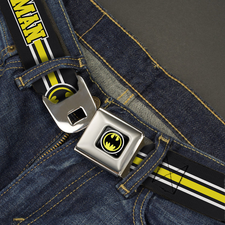 Bat Signal Full Color Black White Yellow Seatbelt Belt - BATMAN/Bat Signal Triple Stripe Black/White/Yellow Webbing