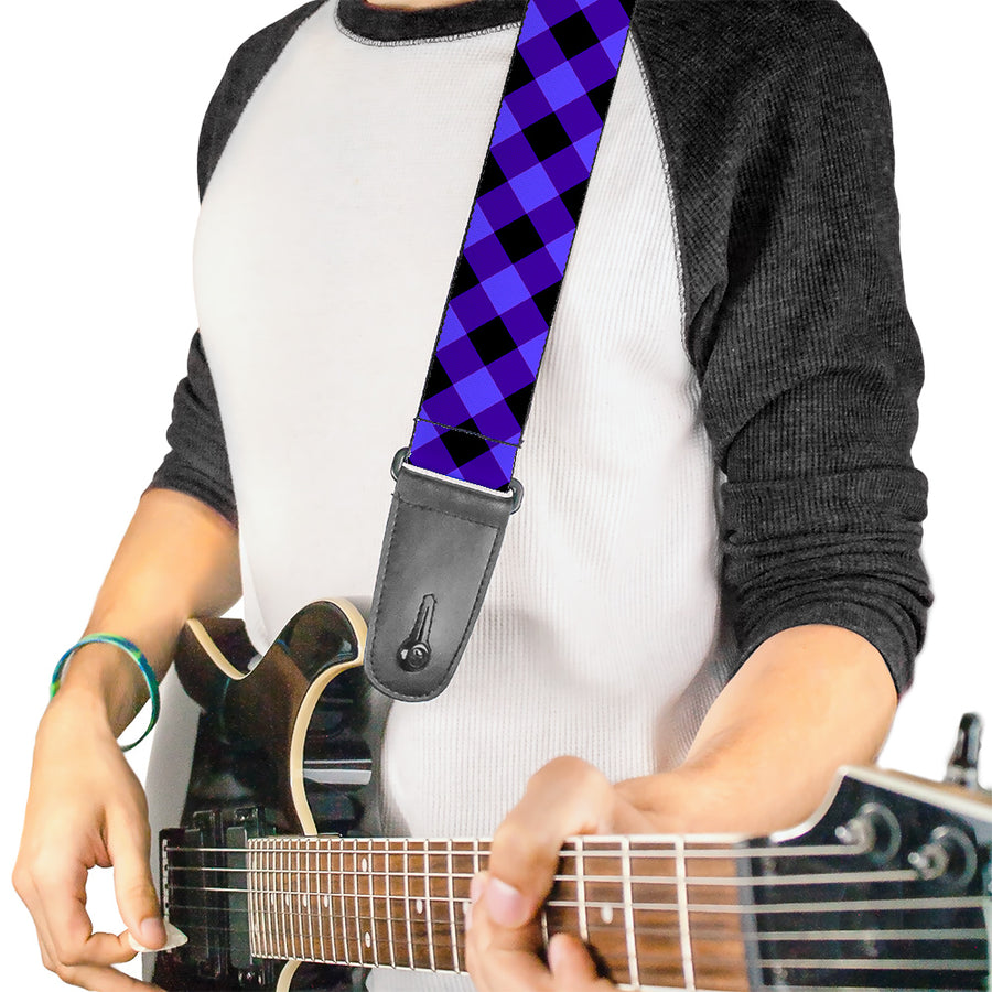 Guitar Strap - Diagonal Buffalo Plaid Black Blue