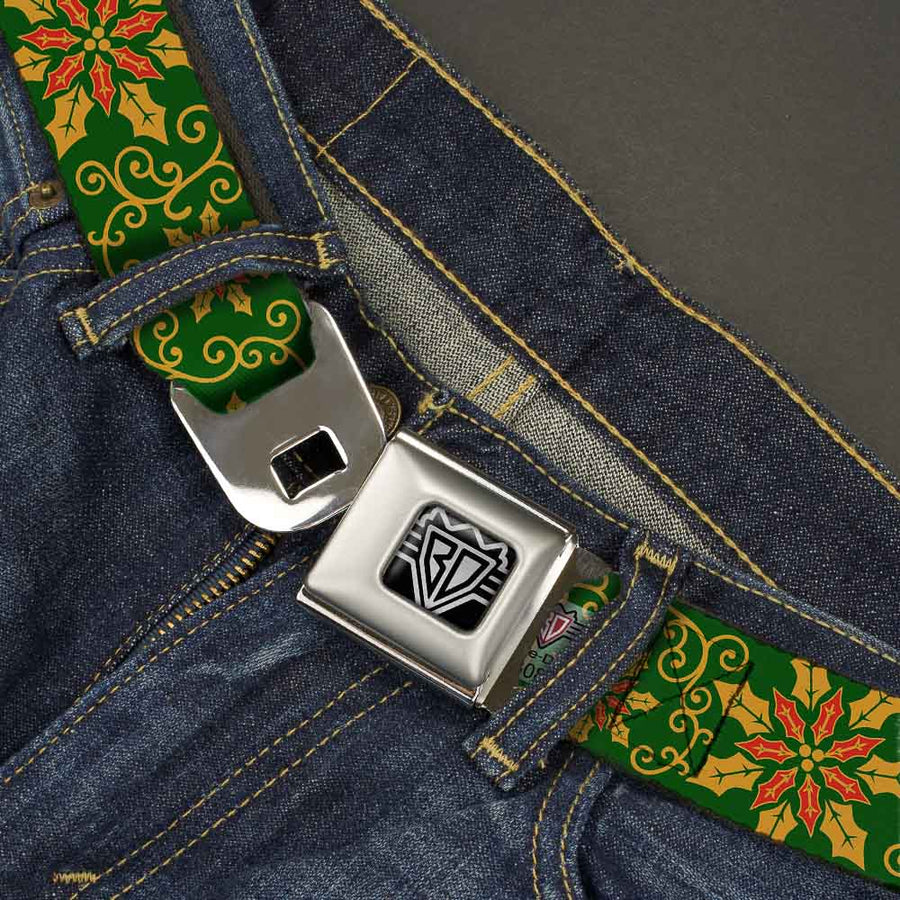 BD Wings Logo CLOSE-UP Full Color Black Silver Seatbelt Belt - Holiday Holly Green/Gold/Red Webbing