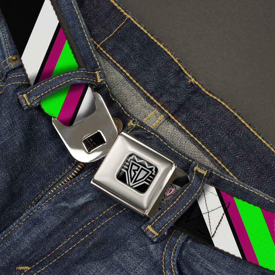 BD Wings Logo CLOSE-UP Full Color Black Silver Seatbelt Belt - Diagonal Stripes Black/White/Pink/Green Webbing