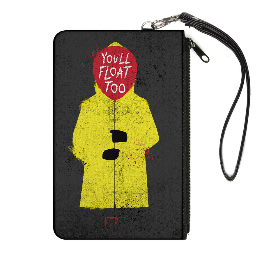 Canvas Zipper Wallet - LARGE - It Georgie Raincoat Balloon YOU'LL FLOAT TOO Pose Gray