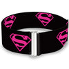 Cinch Waist Belt - Superman Shield Black Hot Pink