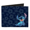 Canvas Bi-Fold Wallet - Stitch Winking Pose Tropical Flora Blues
