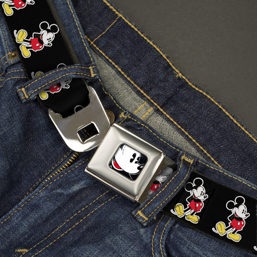 Classic Mickey Mouse Face CLOSE-UP Full Color Seatbelt Belt - Classic Mickey Mouse Pose Black Webbing