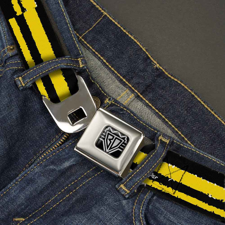 BD Wings Logo CLOSE-UP Full Color Black Silver Seatbelt Belt - Racing Stripe2 Weathered Black/Yellow Webbing