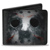 Bi-Fold Wallet - Jason Mask3 CLOSE-UP + FRIDAY THE 13th Black Grays Red