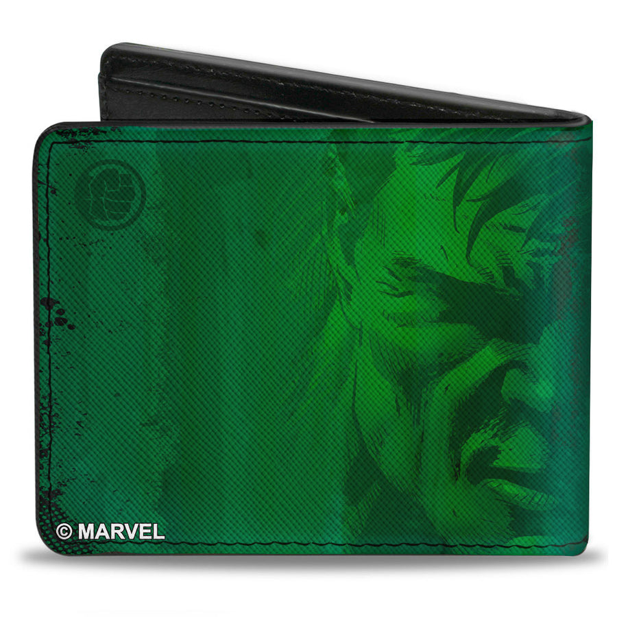 MARVEL AVENGERS Bi-Fold Wallet - STAY ANGRY AND HULK OUT! Hulk Logo + Half Face Greens