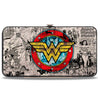 Hinged Wallet - Wonder Woman Logo Comic Scenes Grays Blue Red Yellow
