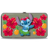 Hinged Wallet - Stitch Hula Pose Front + Back Hibiscus Flowers Pineapples Gray