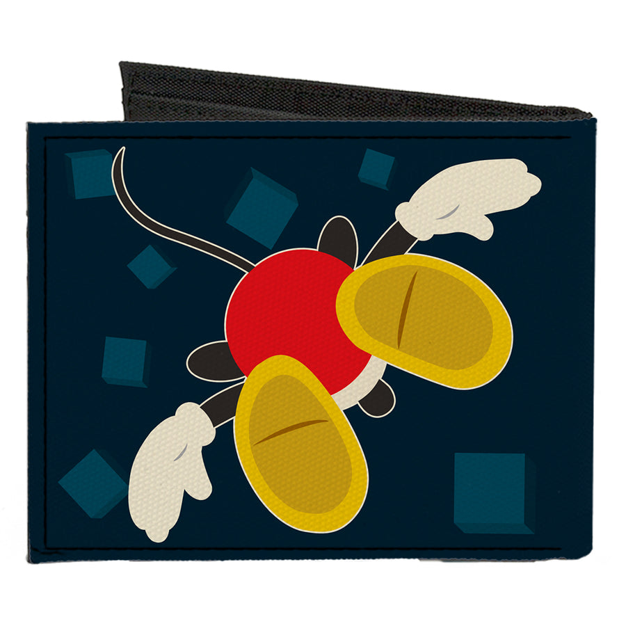 Canvas Bi-Fold Wallet - Mickey Mouse 2-Pose Alternate Views Head + Feet Blocks Blues