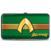 Hinged Wallet - AQUAMAN Classic Icon Scales Stripe Green Golds