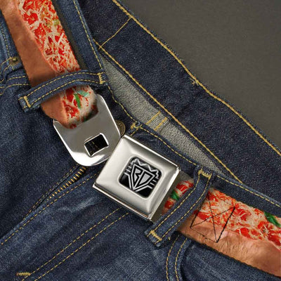 BD Wings Logo CLOSE-UP Full Color Black Silver Seatbelt Belt - Chicago Style Pizza Vivid Webbing