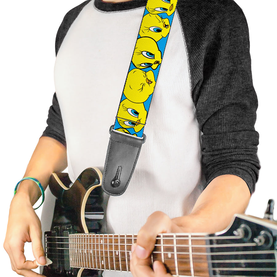 Guitar Strap - Tweety Bird CLOSE-UP Expressions Baby Blue