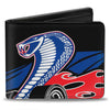 Bi-Fold Wallet - Flaming Cobra Jet Black Blue White Red