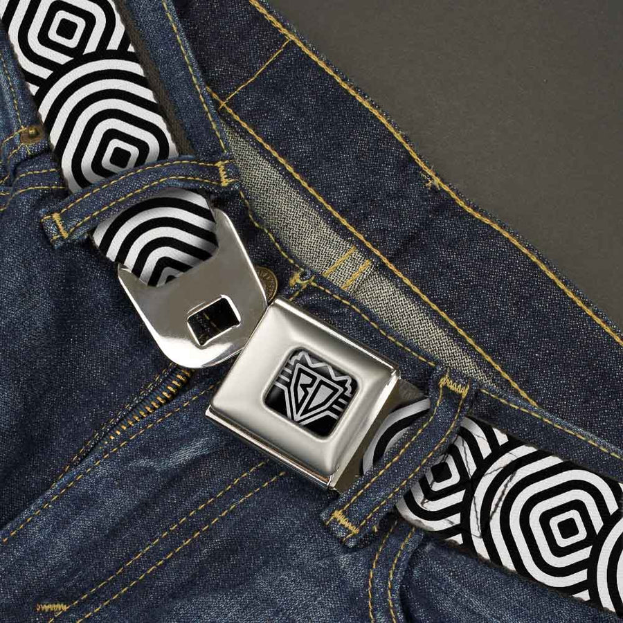 BD Wings Logo CLOSE-UP Full Color Black Silver Seatbelt Belt - Square Target White/Black Webbing