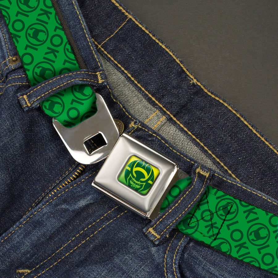 Loki Face Icon Full Color Yellow/Greens Seatbelt Belt - LOKI Text/Icon Monogram Greens Webbing