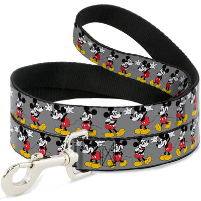 Dog Leash - Mickey Mouse w/Glasses Poses Gray