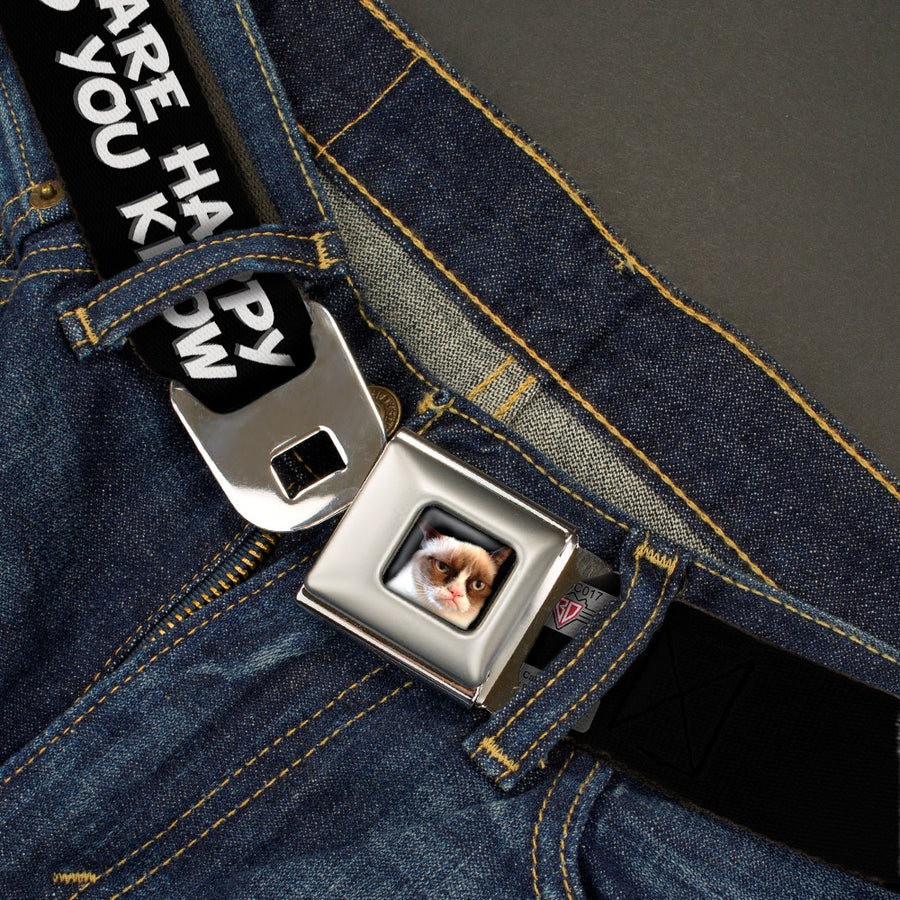 Grumpy Cat Face Full Color Black Seatbelt Belt - Grumpy Cat IF YOU ARE HAPPY AND YOU KNOW IT-I DON'T CARE! Webbing