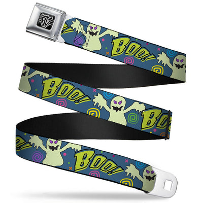 BD Wings Logo CLOSE-UP Full Color Black Silver Seatbelt Belt - Ghost BOO! Blue/Multi Color Webbing