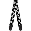 Guitar Strap - Mickey Mouse Expressions Scattered Black White