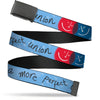 Black Buckle Web Belt - A MORE PERFECT UNION/Smiley Faces Blues/Gray/Red/White Webbing