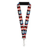 "MARVEL AVENGERS Lanyard - 1.0"" - Captain America Pop Art Shield Repeat Black"