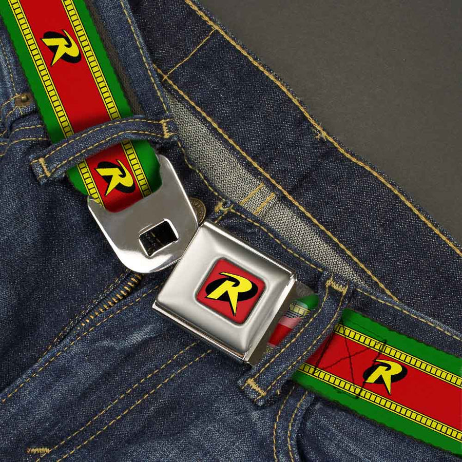 "Robin ""R"" Logo Full Color Red Black Yellow Seatbelt Belt - Robin ""R"" Logo Stripe Green/Yellow/Red/Black Webbing"