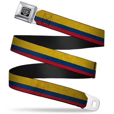 BD Wings Logo CLOSE-UP Full Color Black Silver Seatbelt Belt - Colombia Flag Distressed Webbing