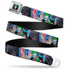 Joker Laughing Face CLOSE-UP Black Seatbelt Belt - Joker BANG Gun Alley Pose CLOSE-UP Webbing