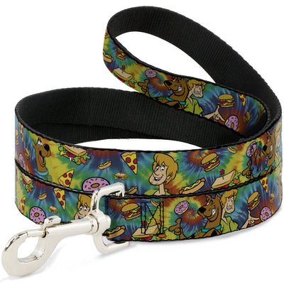 Dog Leash - Scooby Doo and Shaggy Poses/Munchies Tie Dye Multi Color