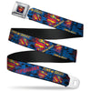 Superman Shield Rays Full Color Black Blue Red Yellow Seatbelt Belt - SUPERMAN MAN OF STEEL Shield Collage/Rays Black/Blues/Reds/Yellows Webbing