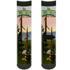 Sock Pair - Polyester - SEE AMERICA-SEE YELLOWSTONE NATIONAL PARK Geyser Landscape Blue Yellow