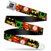 DC Round Logo Black/Silver Seatbelt Belt - Justice League Stacked Logos Webbing