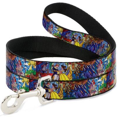 Dog Leash - Beauty & the Beast Stained Glass Scenes