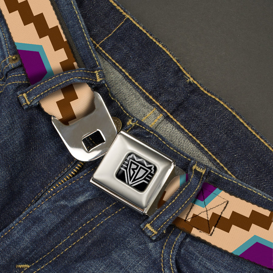 BD Wings Logo CLOSE-UP Full Color Black Silver Seatbelt Belt - Aztec18 Tan/Brown/Turquoise/Purple Webbing