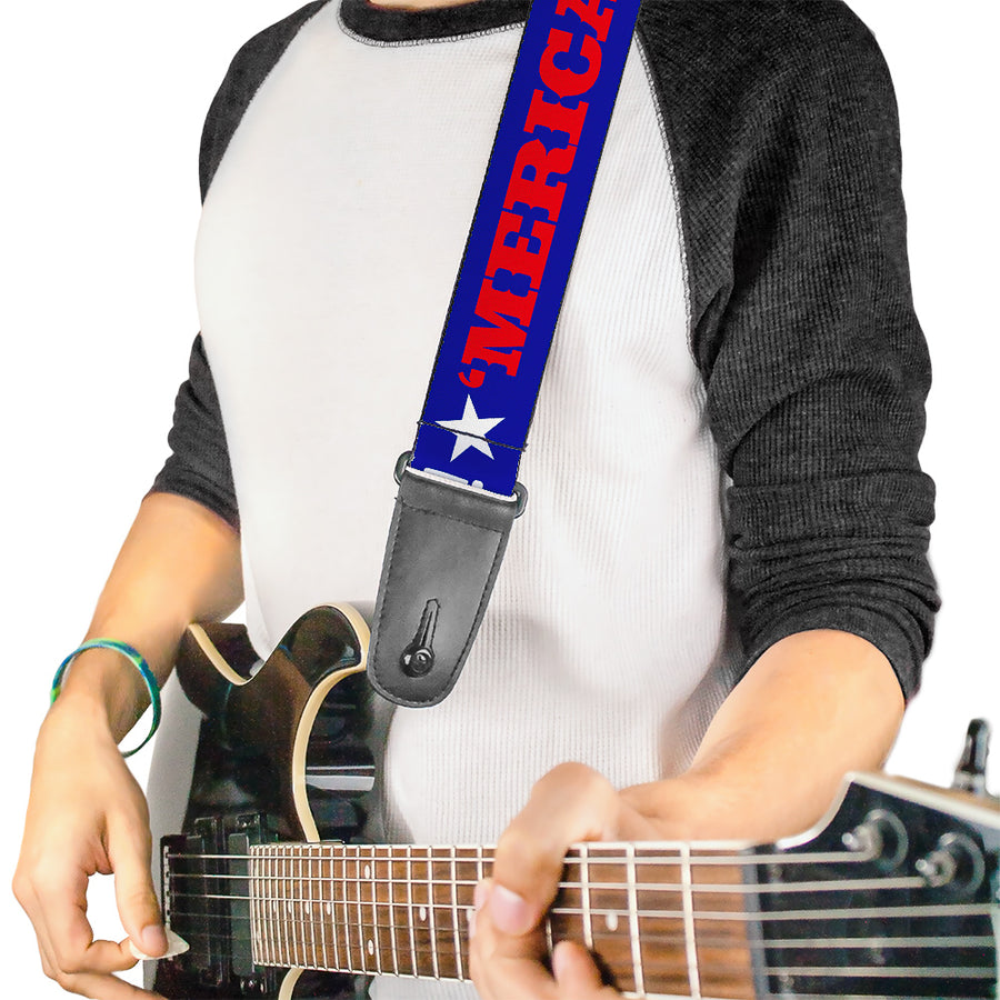 Guitar Strap - MERICA FUCK YEAH! Star Blue Red White